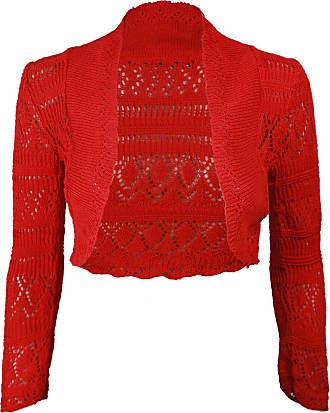 Generic New Ladies Womens Long Sleeve Crochet Bolero Shrug Plain Cropped Knitted Open Cardigan Tops 8-14 Red