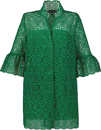 Ulla Popken Womens Plus Size Circle Lace Jacket Green 22 721840 43-48