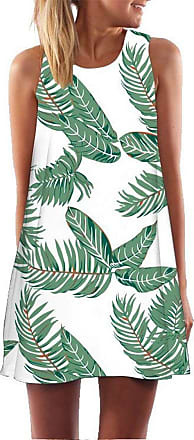 Ocean Plus Womens Summer Casual Top Flamingo A-Line Sleeveless Dresses Leaves Cover-up Western Without Sleeves Beach Dress Party Dress (XL (UK 14-16), Green Leav