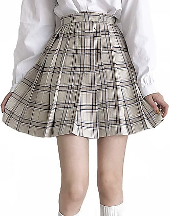 Vdual Girls Japanese Fashion Trend Highwaisted Plaid Checkered Pattered Brown Color Variation Sporty Pleated Tennis Skirt