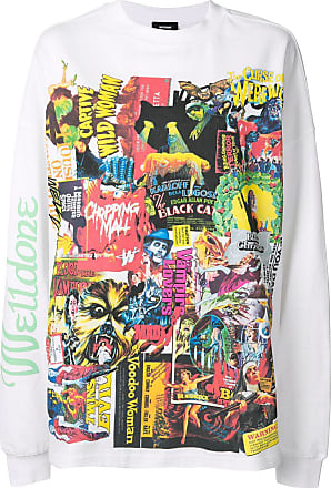 We11done oversized comic print top - White