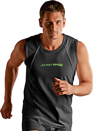 Jockey Mens Sport Tactel Athletics Shirt Vest Underwear - Black - 2XL