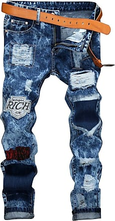 Yonglan Men Snowflake Patch Decoration Water Washed Slim Straight Holes Jeans 28