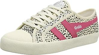 Gola Womens Coaster Cheetah Sneaker, Off White/Fluro Pink
