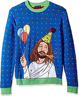 Blizzard Bay Mens Sad Jesus Birthday Ugly Christmas Sweater, blue, Small