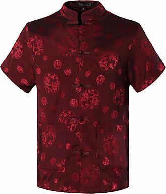 Jeansian Mens Chinese Traditional Tang Shirt Dragon Kung Fu Tai Chi Short Sleeve Tops L900 WineRed XXL