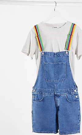Asos denim short dungaree with rainbow straps-Blue