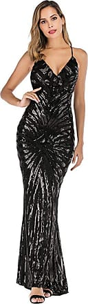 YYW Womens Sexy V-neck Sequin Mermaid Evening Gown Dress for Party Prom Wedding Cocktail (Black,Xl)