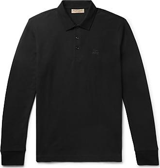 Burberry Embroidered Cotton-piqué Polo Shirt - Black 6ee9ffa7281