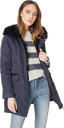 French Connection Womens Parka with Faux Fur Lined Hood, Utility Blue, Large