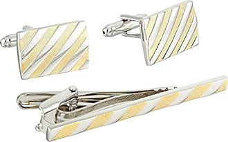 Stacy Adams Stacy Adams Mens Link and Bar Set Contrasting Diagonal Strips, Silver/Gold, One Size