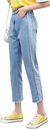 Yonglan Womens Loose Jeans Slim Fit Trouser Denim High Waist Casual Stretch Straight Pants 716Light Blue 25