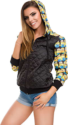 FUTURO FASHION Womens Solid Quilted Jacket Minions Print with Hood Big Pockets and Zipper FZ133