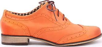 Zapato Womens Leather Oxford Shoes Model 246 Orange