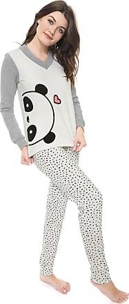 Cor com Amor Pijama Cor com Amor Panda Branco/Cinza