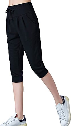 Vdual Women Casual 3/4 Trousers Ladies Elastic Waist Cropped Yoga Training Jogging Bottoms Capri Shorts Pants Plus Size with Pockets Black