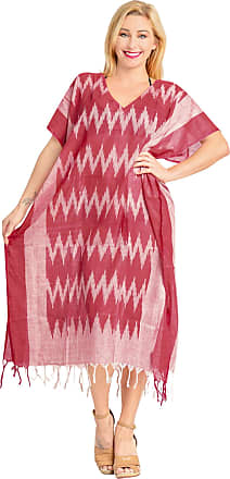 La Leela Women Long Kaftan Cotton Printed Robe Caftans Plus Size Maxi Dress Ladies Tropical Casual Cover up, [OSFM] UK: 14 (M) - 28 (3XL), Valentine Day Pink_a
