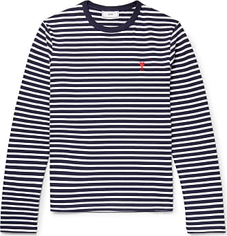 Ami Embroidered Striped Cotton T-shirt - Navy