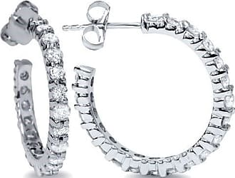 Pompeii3 1 1/10ct Diamond Hoops 14K White Gold