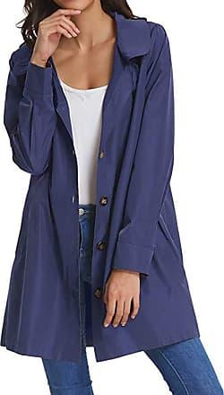 NPRADLA 2019 Womens Solid Rain Jacket Outdoor Hoodie Waterproof Long Coat Overcoat Windproof (XL/UK 16, ZZZ-Blue)