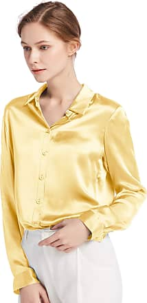 LilySilk Womens 100 Charmeuse Silk Blouse for Lady Long Sleeve Top 22 Momme Pure Silk (XXL/20-22, Gold)