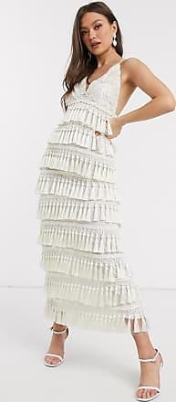 A Star Is Born Exclusieve lange jurk met kwastjes in wit