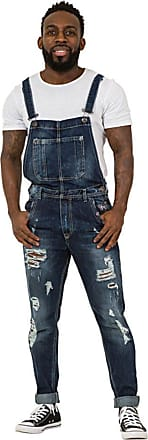 87bc176fa8 Berna Destroyed Denim Mens Dungarees - Slim Fit Bib Overalls Rips Abrasions  ALAN-M-