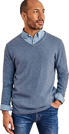 WoolOvers Mens Cashmere and Merino V Neck Jumper Mid Blue Marl, M
