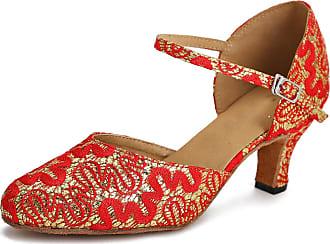 MINITOO Ladies TH152 Comfortable Low Heel Satin Wedding Ballroom Latin Taogo Dance Pumps Shoes