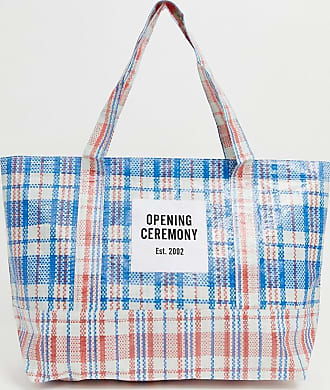 Opening Ceremony dual colour medium check tote-Blue