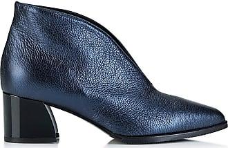 Madeleine Leder-Stiefelette mit Blockabsatz in blau MADELEINE Gr 36, marine für Damen. Synthetik