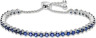 Zales Lab-Created Blue and White Sapphire Bolo Bracelet in Sterling Silver - 9.0