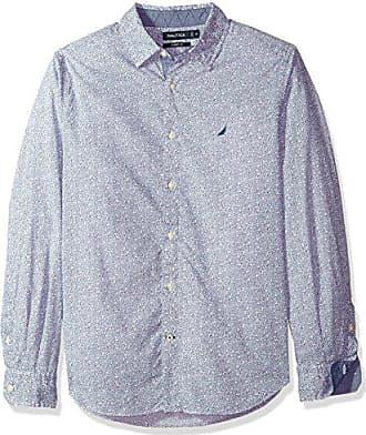 Nautica Mens Classic Fit Long Sleeve Print Pattern Button Down Shirt, Estate Blue, Large