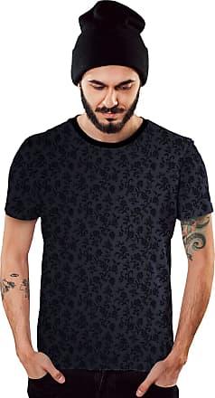 Di Nuevo Camiseta Azul Flowers Masculina Casual