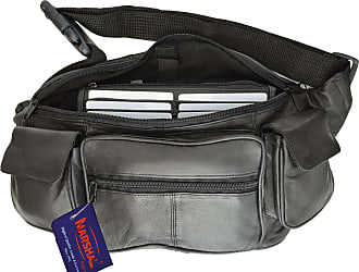 Mens Ladies Genuine Large Soft Leather Waist Bag Bumbag Multiple Zips Black 1964