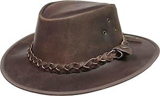 Generic Leather Cowboy Western Australian Style Hat Brown Bush Hat Mens Womens (L)