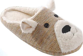 Universal Textiles Womens/Ladies Knit Patterned Animal Teddy Bear Slippers (UK 5/6 EURO 38/39) (Beige)