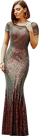 Ever-pretty Womens Round Neck Short Sleeve Sequin Mermaid Long Evening Party Dresses Gold 12UK