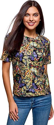 oodji Womens Straight-Fit T-Shirt in Textured Fabric, Multicoloured, UK 6 / EU 36 / XS