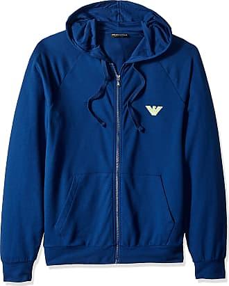 Emporio Armani Mens Big Eagle Full Zip Hooded Sweatshirt, Bluette, XXL