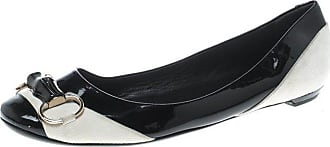 1259c926869 Gucci Black white Patent Leather And Suede Bamboo Horsebit Ballet Flats  Size 38