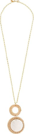 Kenneth Jay Lane rattan and shell pendant necklace - Dourado