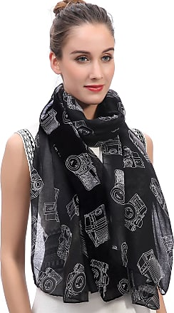 Lina & Lily Vintage Camera Print Womens Scarf Oversized (Black)
