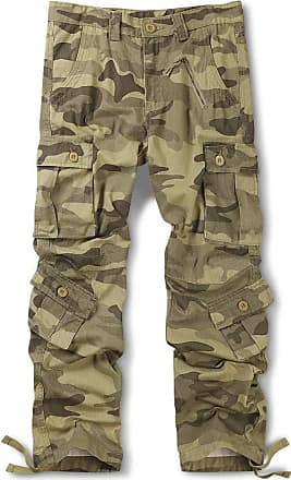 OCHENTA Mens Cotton Casual Military Army Camo Combat Trousers,Wild Cargo Pants with 8 Pockets 3357 Camo Z Yellow 34