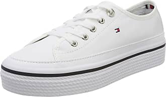 26cc4432456 Tommy Hilfiger Womens Corporate Flatform Sneaker Low-Top (White 100)