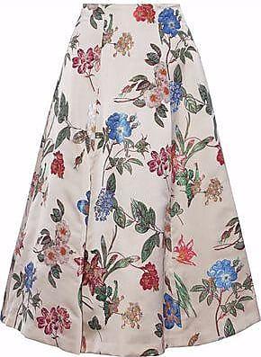 df9e66a5acc74d Alice & Olivia Alice + Olivia Woman Flared Floral-jacquard Midi Skirt Beige  Size 0