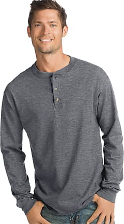 Hanes Mens Beefy Henley Shirt, Slate Heather, Large