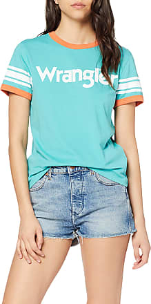 Wrangler Womens Ringer Tee T-Shirt, Green (Lagoon C), XS