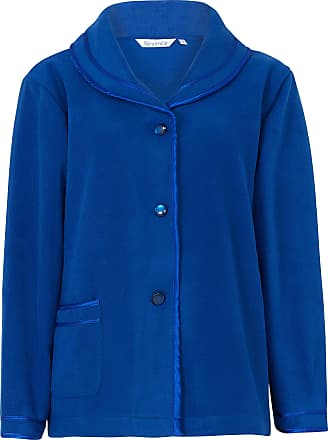 Slenderella Ladies 24/61cm Soft Blue Fleece Collared Button Up Bed Jacket with Classic Satin Trim Size Medium 12 14