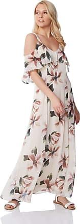 Roman Originals Women Cold Shoulder Chiffon Floral Leaf Maxi Dress - Ladies Loose Boho Bohemian Oriental Summer Evening Occasion Wedding Guests Outfits Long Dresses -
